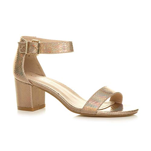 Ajvani Damen Mitte Blockabsatz Knöchelriemen Peep Toe Riemchensandalen Größe 5 38 Gold Peep Toe Schuhe