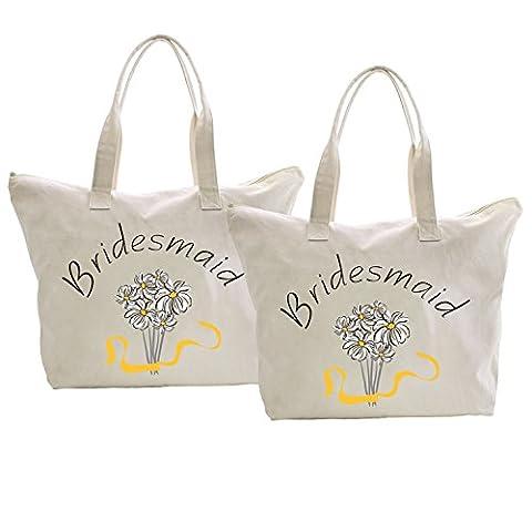 ElegantPark Bridesmaid Tote Bag Zip Interior Wedding Hen Party Daisy