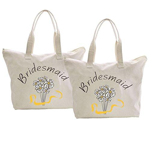 ElegantPark Bridesmaid Donne Shopper Naturale Tela 100% Cotone Tote Tote donne della spalla Mid borsa Sposa Bridesmaid x 2