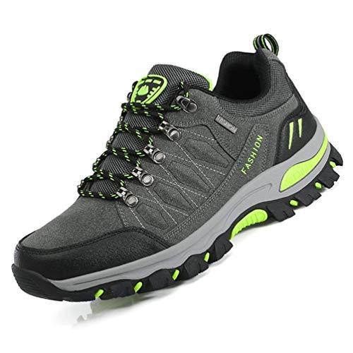 LANSEYAOJI Zapatillas de Trekking para Hombres Zapatillas de Senderismo Botas de Montaña Antideslizantes AL Aire Libre Zapatillas de Camping Zapatillas de Deporte EU35-47,Oscuro Gris-1,EU45
