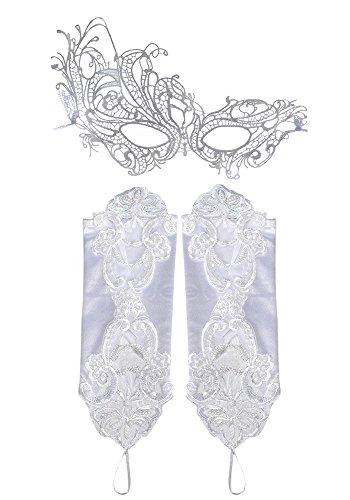 Weiße Kostüm Frau - CAOLATOR Maske Damen Lace Augenmaske Frau Spitzenmaske und Handschuhe Masquerade Party Kostüm für venezianischen Karneval Party Weiß