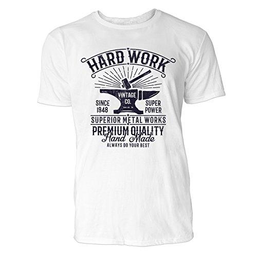 SINUS ART ® Hammer und Amboss im Vitage Stil – Hard Work Herren T-Shirts in Weiss Fun Shirt mit tollen Aufdruck (Print Amboss T-shirt)