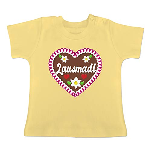 Oktoberfest Baby - Lausmadl Lebkuchenherz - 12-18 Monate - Hellgelb - BZ02 - Baby T-Shirt Kurzarm