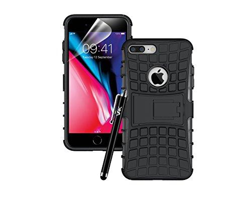 Apple iPhone 8Plus case–Coperchio della custodia cover resistente Premium qualità antiurto builder [stand View] cover con pellicola proteggi schermo, panno in microfibra e pennino rosa Pink Black