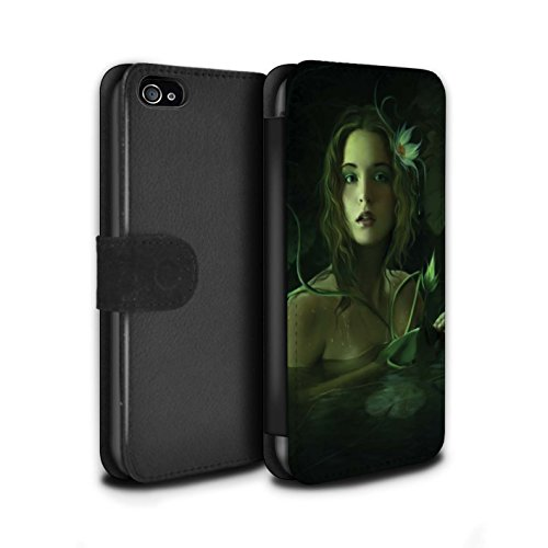 Officiel Elena Dudina Coque/Etui/Housse Cuir PU Case/Cover pour Apple iPhone 4/4S / Balançoire Jardin Design / Un avec la Nature Collection Bain Caché