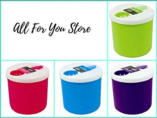 Set Kanister Küche Bunt (Vorratsdose & Löffel lebensmittelechtem Kunststoff alle für Sie Box Organizer Deckel Küche Kochen Zucker Kaffee Tee Backen Schraube Top Bunt Rot Lila Blau Grün 4-teiliges Set)