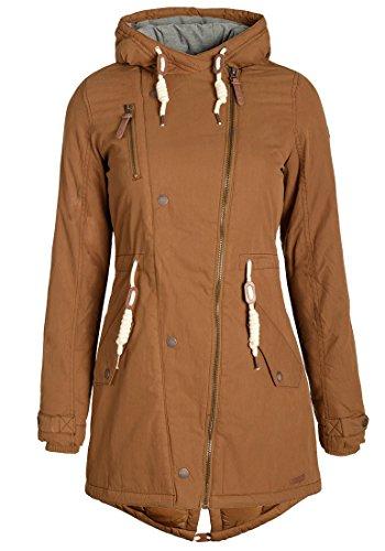 Kapuzen-wintermantel (DESIRES Lew Damen Parka lange Jacke Wintermantel mit Kapuze aus hochwertiger Baumwollmischung, Größe:S, Farbe:Cinnamon (5056))
