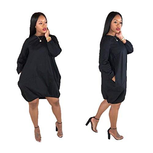 Fashion Fall Women Long Sleeves Pockets Casual Loose Club Party Loose Dress Black S