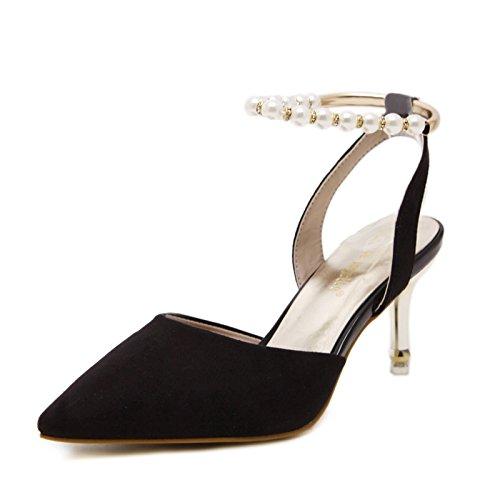 GS~LY Scarpe donna tacco alto in camoscio selvaggio Pearl sandali high heels Pink