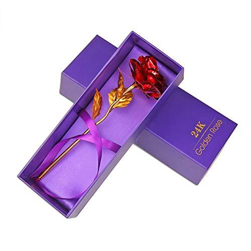 Caidi Rose, 24 K Rose, vergoldet, Elegante Romantische Ewigkeitsblume, mit Geschenkbox von Luxus, ideal für Freundin Valentinstag, Muttertag, Geburtstag, Hochzeit rot - Toner 24k