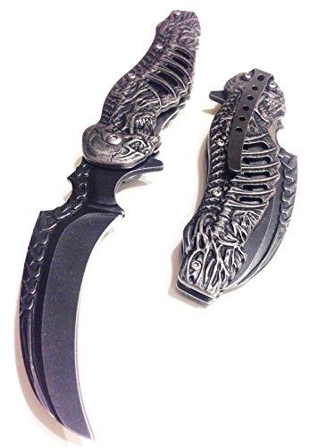 Taschenmesser, Klappmesser, Motiv: Gothik, Skelett, leicht zu öffnen, # 300308-SW