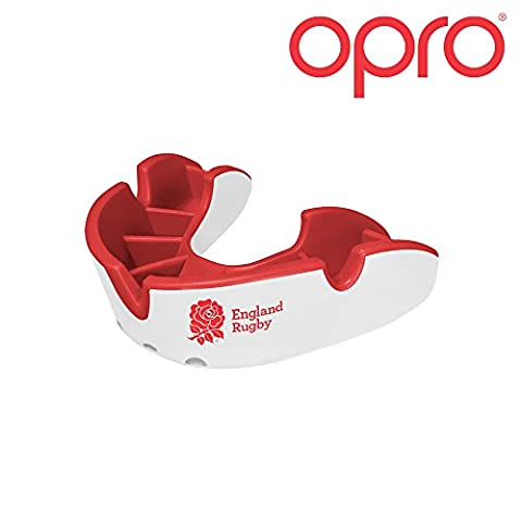OPRO Protège-dents Self Fit GEN 3 Junior Silver - Auto-Ajustable - Pour Rugby, Handball, Hockey, MMA, Boxe - Garantie Dentaire de Jusqu'à 7 500 € Conçu et Fabriqué au Royaume-Uni - enfant (England Rugby)