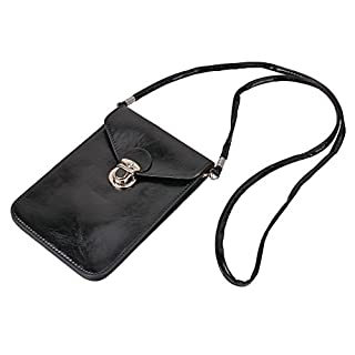Asnlove Cell Phone Bag, 6.3 inch Universal Double Pockets PU Oil Wax Leather Strap Mini Cross Body Bag Shoulder Bag Tote Pouch Bag for Apple iPhone X / 8/7 Plus / 6s