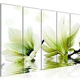 Bilder Blumen Magnolia Wandbild 150 x 60 cm Vlies - Leinwand Bild XXL Format Wandbilder Wohnzimmer Wohnung Deko Kunstdrucke Grün 5 Teilig - MADE IN GERMANY - Fertig zum Aufhängen 201856c