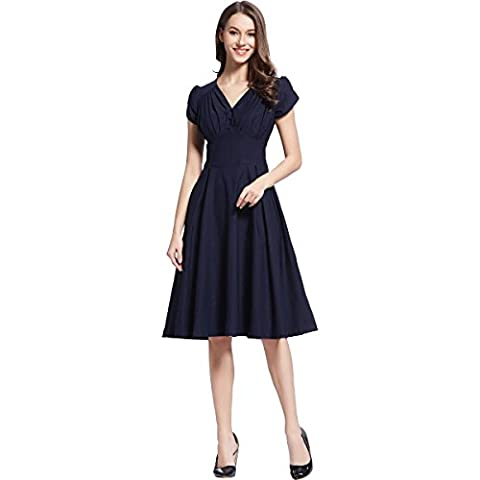 KingField - Robe - Taille empire - Manches Courtes - Femme - Bleu - X-Large