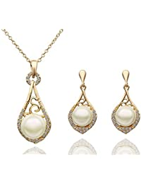 Yellow Chimes Moxie Collection Divine Pearl 18K Yellow Gold Plated Alloy Pendant Set For Women And Girls...