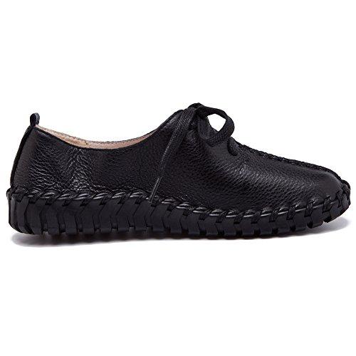 Shenn Damen Stich Schnüren Intelligent Beiläufig Echtleder Mode Sneakers Schwarz
