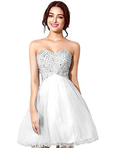 Sarahbridal Damen Tüll Ballkleid kurz Bandeau Abendkleider Abschlusskleid Partykleid SSD034 Weiß...