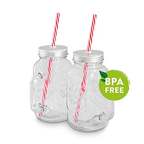 Mason Jar Gläser (0,5 l) 2er Set von KITCHEN CREW Smoothie-Henkel-Gläser im Retro-Vintage-Design passend für den Mason Jar Smoothie Maker, Becher, Glas mit Deckel & Strohhalm ideal für SMOOTHIE TO GO!