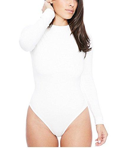 Donna Body Collo Rotondo Maniche Lunghe Basic T-Shirt Felpe Top Bianco