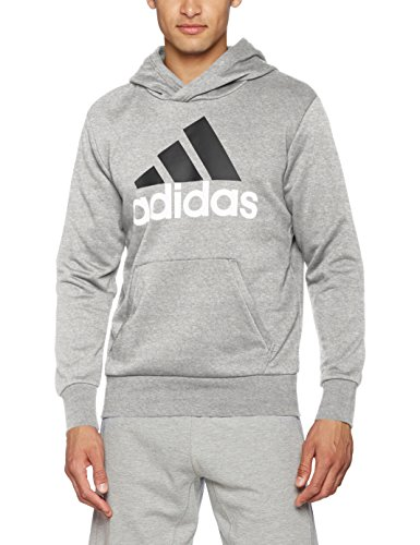 adidas Herren Essentials Linear P/O French Terry Hoodie, Medium Grey Heather, M Terry Hoodie