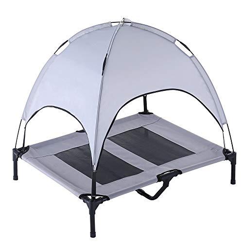 UTOPIAY Schatten Erhöht Hundebett Komfortabel für jeden Hund Hygienischer als gepolsterte Betten Tragbares Campingbett mit Zelt stabilem Rahmen,Gray,91 * 76 * 16cm