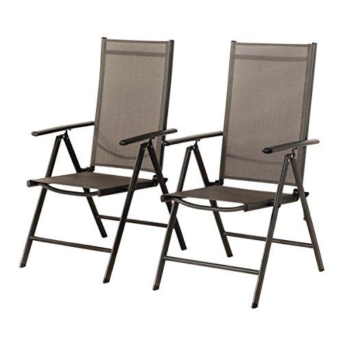 2-er Set Stuhl, 7-fach verstellbar Klappsessel, Gartenstuhl, Hochlehner für Terrasse Multipositionssessel, Balkon Möbel, grau