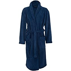 John Christian - Bata Polar Térmica Suave - Azul Marino - Hombre (XL)
