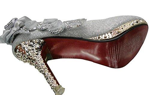 Wealsex Escarpins Mariage Talons Hauts Talon Aiguille Bout Fermé Fleurs Strass Diamant Soirée Cérémonie Taille 34 40 Femme Argent