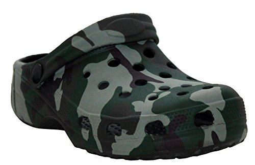 A&H Footwear Boys Kids Youth Slip On Camouflage Camo EVA Beach Summer Sandals Mules Garden Pool Clogs UK Sizes Youth 2-6 (UK 4 (Youth), Camo)