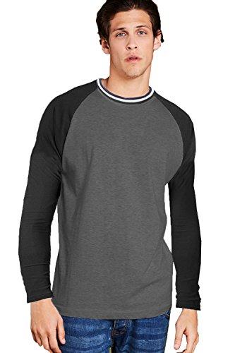Brave Soul Herren Raglan T-Shirts Langärmlig Rundhals Top Charcoal Marl -Black