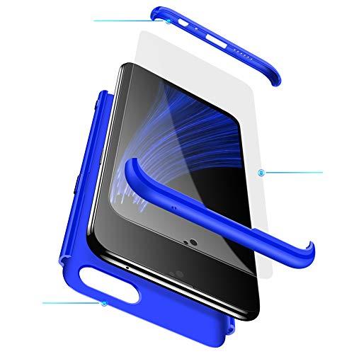 MEVIS Oppo F7 Hülle,360 Grad hülle Fullbody case+(1*Hartglas Glasfilm Schutzfolie) 3 in 1 Ultra dünner pc Hardcase Scratch und Shockproof-Blau