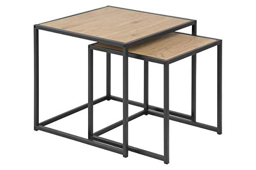 Marque Amazon - Movian Martin - Tables gigognes, 50x50x45cm (longueurxlargeurxhauteur), Finition chêne