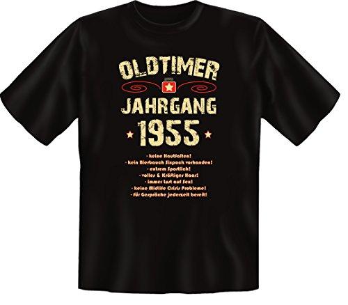 Zum 61 Geburtstag, Oldtimer / Jahrgang 1955, Elegante Herren Fun-t-shirts als Geschenk zum Geburtstag mit Coolem-Sprüche-Motiv:, , Schwarz