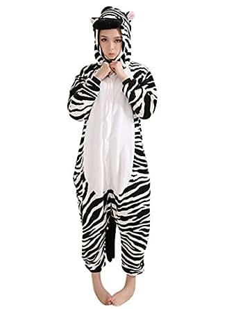 Keral Kigurumi Pigiama Adulto Anime Cosplay Halloween Costume Attrezzatura_Zebra_S