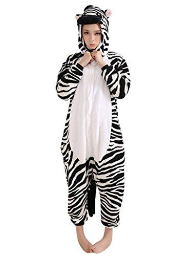 Keral Unisex Pyjama Tierkostüme Schlafanzug Tier Onesize mit Kapuze Erwachsene Overall Kostüm festival tauglich Ente Zebra Größe S