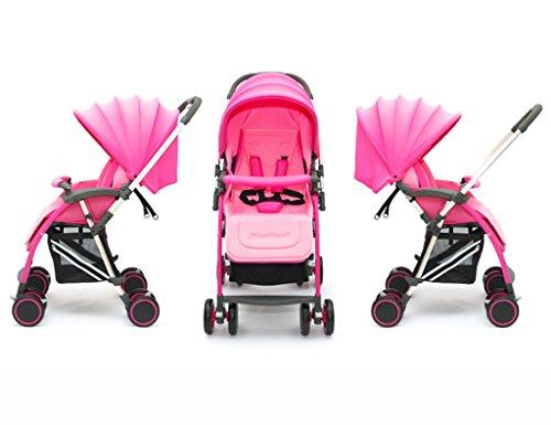 ERRU Cochecito Carritos con capazo Cochecito de bebé plegable /Puede sentarse de dos vías ligeramente Llevar invierno y verano del bebé de doble uso de la carretilla(colores opcionales) Para los padres que quieren viajar a la moda ( Color : Pink )