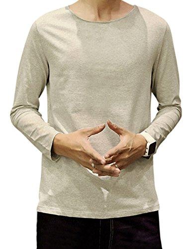 M (US 38) , Light Gray : Generic Men Raw Edge Neckline Long Sleeves Round Neck Tee Shirt