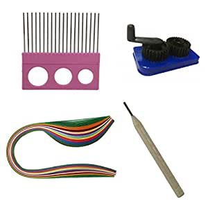 400 Metallic Quilling Paper Strips (3 5 7 10 mm) Comb, Crimping Tool, Needle