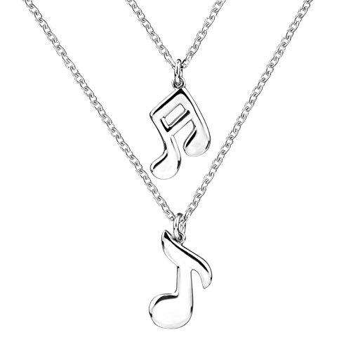 apotie 925Sterling Silber Charm Double Musical Note Ketten Anhänger mit Weiß Gold Weihnachts geschenke Lange Kette für Frauen