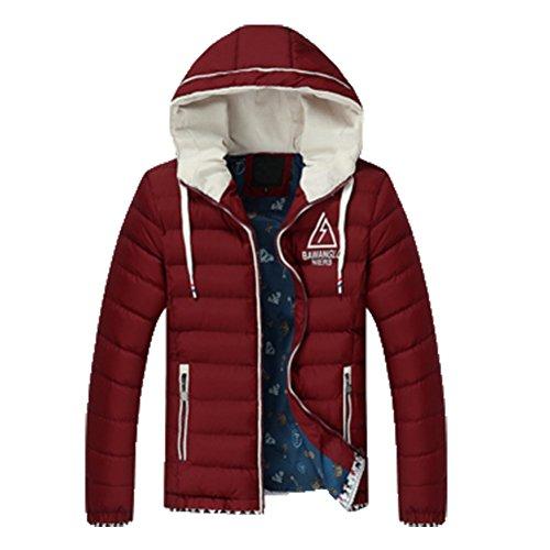 OHmais homme parka manteau d'hiver veste à capuche fourré Bordeaux