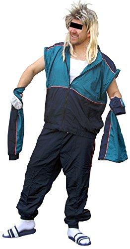 Unbekannt Mit Abnehmbaren Ärmeln - 80er Jahre Trainingsanzug 80s Retro echter Jogginganzug Kleidung (Petrol-Blau, L)