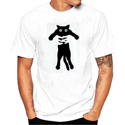 OverDose Herren Sommer oberteile Printed Oversize Slim Fit Casual Kurzarm Basic Figurbetont T-Shirts Tops Rundhals Sport Bluse Printed Tees Hemd tank E