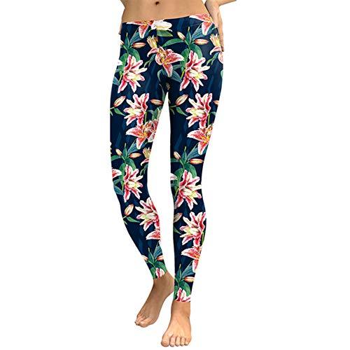 Frühlings-frischen Duft (Ayujia Frischen Duft Lily Frauen Leggings Capri Lilien Digitaldruck Frau Legging Erarbeiten Street Wear Hosen Leggins)