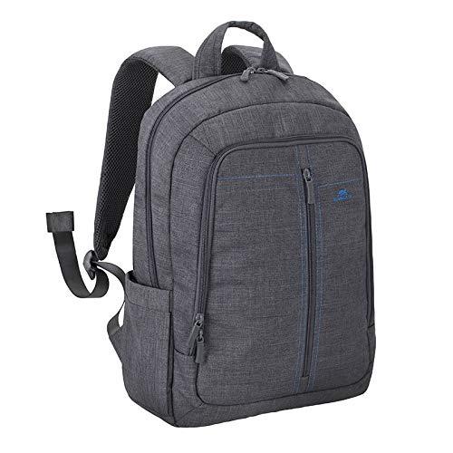 """RIVACASE Notebook Rucksack bis 15.6"""" – Stilvolle Tasche aus wasserabweisenden Material und extra verstärkten Seiten - Grau"""
