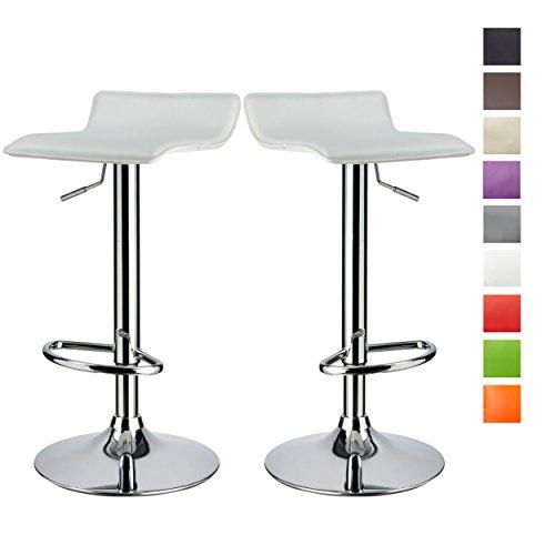 Juego de 2 taburetes de bar de cuero blanco sintético ajuste de altura reposapiés seleccion de color Duhome 118