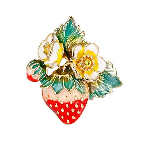 Demarkt 1Stück Fashion Wild Kleid Erdbeere Brosche Damen Fruit Strawberry Brosche Schal Kostüm Brosche ()
