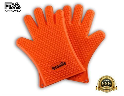 Lecoolife Silicone Cooking Gloves Heat Resistant Grilling Barbecue BBQ Mitts for Cooking, Baking, Smoking & Non-Slip Potholders (Orange)