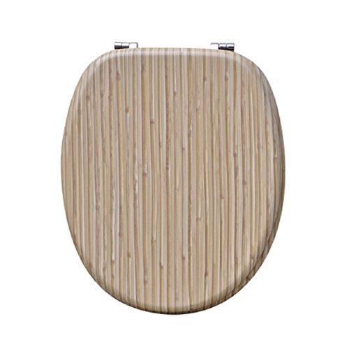 Carpemodo WC Deckel WC Sitz / Scharniere verchromt / Material Holz MDF / edles und modernes Design als Fotodruck / Farbe Braun / Motiv Holz