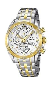Festina F16655/1 - Reloj analógico de cuarzo para hombre, correa de acero inoxidable chapado multicolor (cronómetro) de Festina
